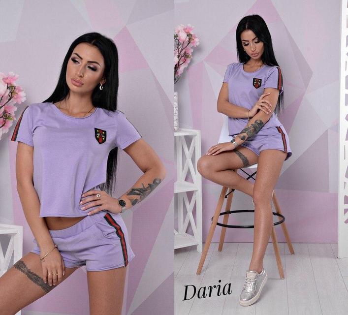 11d3fdcc2dc Спортивный модный женский летний костюм с лампасами футболка и шорты