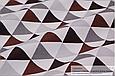 Сатин (бавовняна тканина) сірі,коричневі,чорні трикутники (ШЛЮБ точки білі через 60см), фото 3