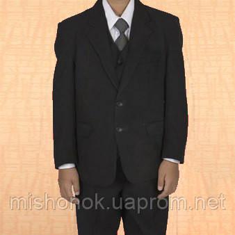 Школьная форма тройка Rodeng р.150 на 9-11 лет черный цвет, пиджак, брюки, жилет