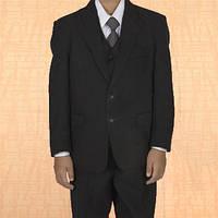 Костюм тройка Rodeng для мальчика р.150 на 9-11 лет черный цвет, пиджак, брюки, жилет