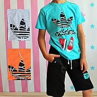 Футболка и шорты Адидас летние детские костюмы для мальчика размер 6-7 лет