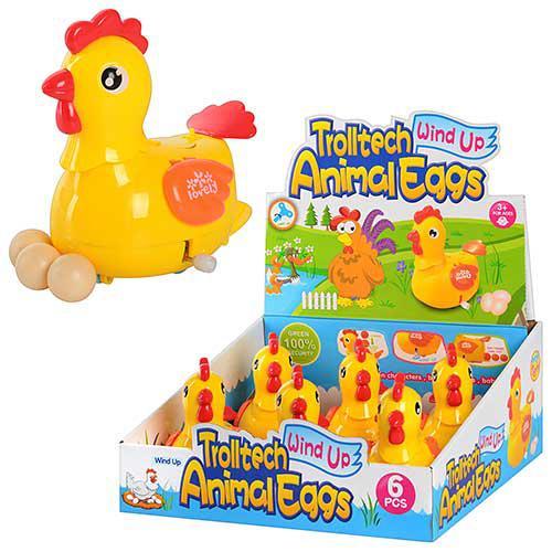Курица 289-1 (108шт) заводная, 12см, несет яйца, 6шт в дисплее, 29-27-