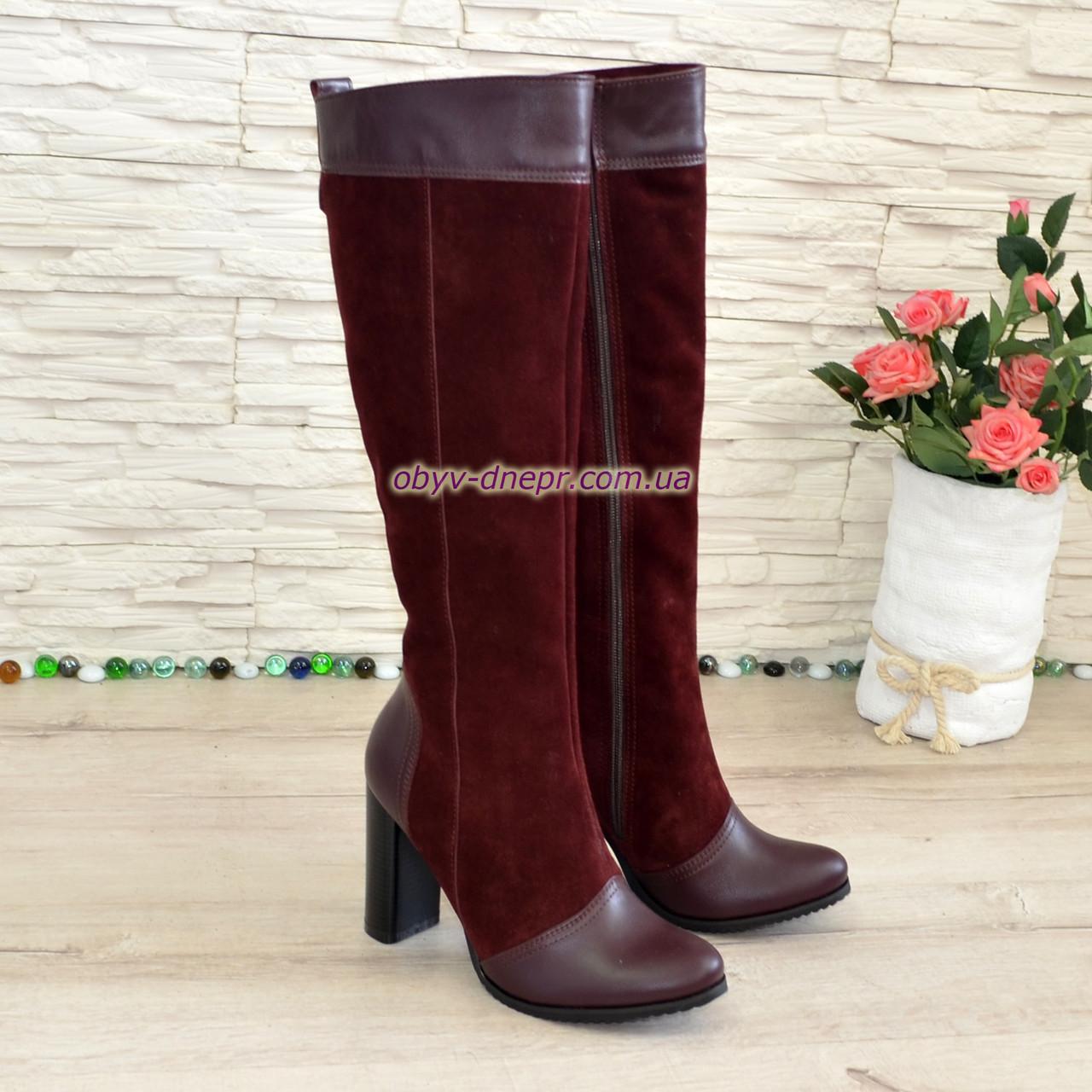 Жіночі чоботи з натуральної шкіри та замші на високому каблуці