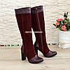 Жіночі чоботи з натуральної шкіри та замші на високому каблуці, фото 3