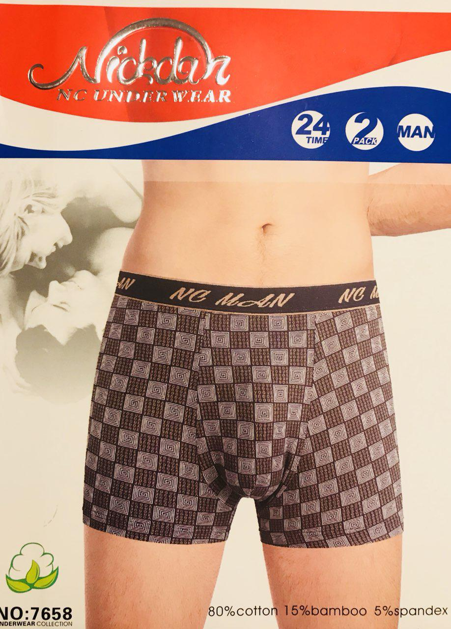 Трусы мужские боксёры хлопок + бамбук Nickdan размер L-3XL(46-56) 7658