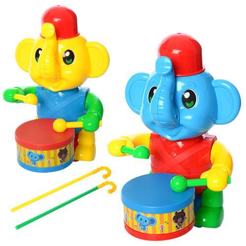Каталка 0356  на палке 40см, слоник, барабанщик, 2цвета, в кульке, 21-