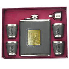 Подарочный набор Фляга 4 рюмки + воронка с гербом Украина 18OZ, фото 2