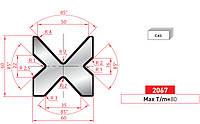Матрица 4V DIE 2067 60x60mm V=16-22-35-50/85°L=805 секц.