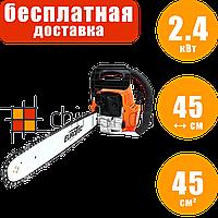 Бензопила Eurotec GA 107C, 2.4 кВт, 45 см, бензиновая цепная пила, мотопила для дома, бензо пила