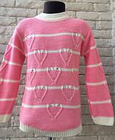 """Красивая кофточка-свитер """"Сердца"""" на девочку 4-8 л"""