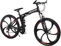 Складной велосипед экологичный на моторе LAND ROVER ELECTROBIKс литими ободами мощность 350 ВТ Черный