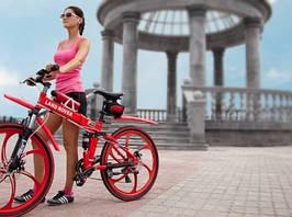 Складной велосипед экологичный на моторе LAND ROVER ELECTROBIKс литими ободами мощность 350 ВТ Красный