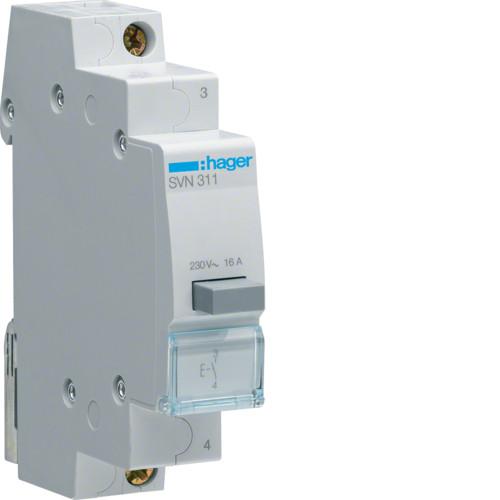 Выключатель кнопочный возвратный Hager SVN311, 16А, 230В