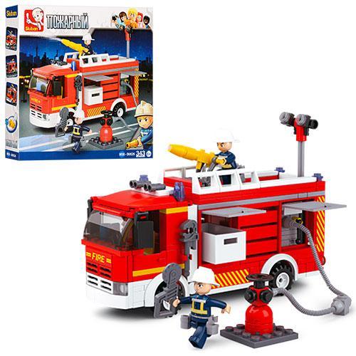 Конструктор SLUBAN M38-B0626  пожарная машина, фигурки, 343дет, в кор-