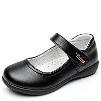 Туфли школьные для девочки, черные, кожа, размер 30  ТШ 003 30(19,2см)