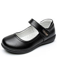 Туфли школьные для девочки, черные, кожа, размер 30-34, ТШ 003