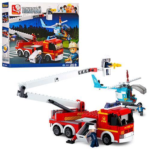 Конструктор SLUBAN M38-B0627  пожарная машина,вертолет,фигурки,394дет,