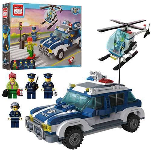 Конструктор BRICK 1117  полиция, машинка, вертолет, фигурки 4шт,394дет