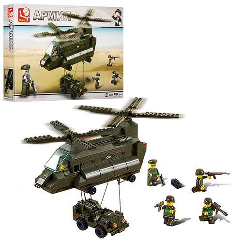 Конструктор SLUBAN M38-B6600  армия,воен.вертолет,машинка,фигурки,370д