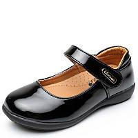 Туфли школьные для девочки, черные, лаковые, размер 30-34,ТШ 004