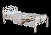 Кровать  односпальная из металла и дерева Элис Люкс Вуд