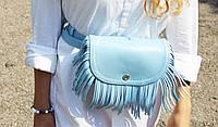 Кожаная поясная сумка Моника с бахромой , фото 1