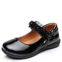 Туфли школьные для девочки, черные, лаковые, размер 31-34, ТШ 006