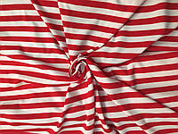 Вискоза Полоска Красно-белая 1см, фото 1