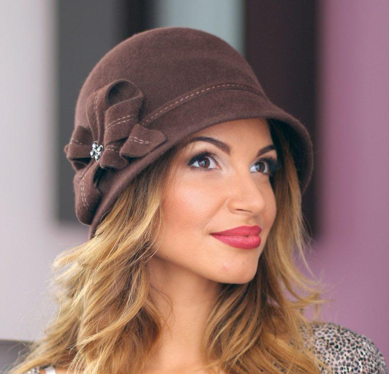 242-3 Женская фетровая шляпа Хелен Лайн
