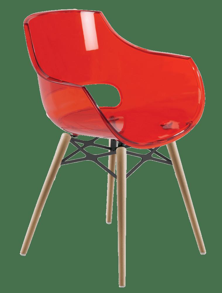 Крісло Papatya Opal-Wox прозоро-червоне, рама натуральний бук