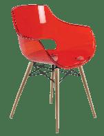 Кресло Papatya Opal-Wox прозрачно-красное, рама натуральный бук, фото 1