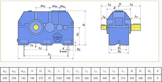 Габаритные размеры редуктора Ц3У-355 и 1Ц3У-355 чертеж