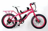 Детский электровелосипед для девочек розового цвета LKS Fatbike Electro 250 Вт