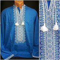 """Вышиванка """"Влад"""" с длинным рукавом мужчинам, натуральный лен, 40-56 р-ры, 880/750 (цена за 1 шт. + 130 гр.)"""