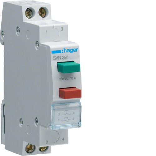 Выключатель двухкнопочный возвратный Hager SVN391, 16А, 230В