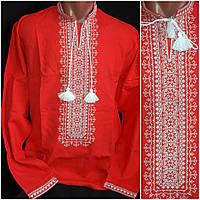 """Красная вышитая рубашка """"Влад"""" для мужчин, натур. лен, 40-56 р-ры, 880/750 (цена за 1 шт. + 130 гр.)"""