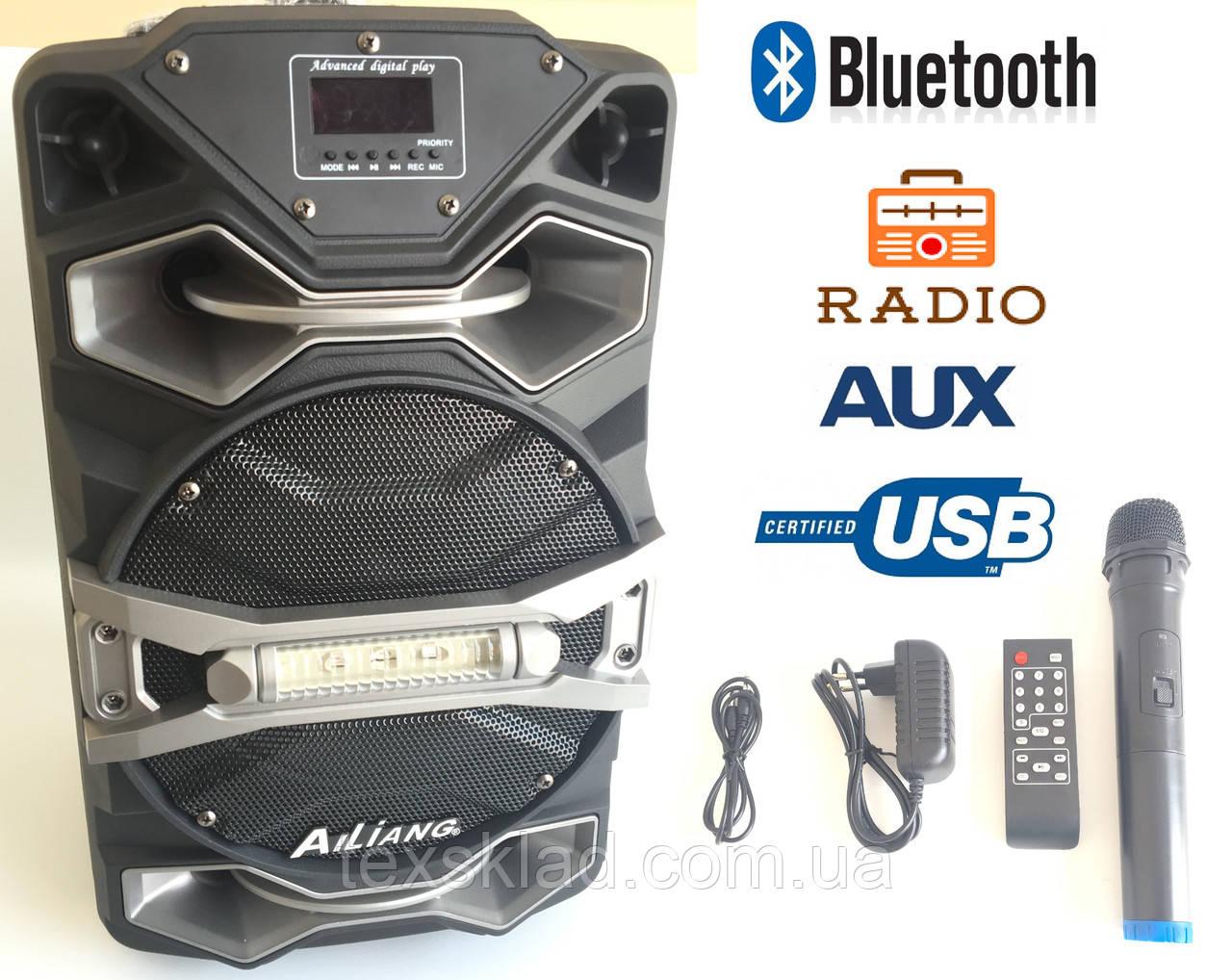 Колонка на акумуляторе с микрофоном UF-8008 /100W (USB/Bluetooth/FM)