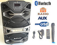 Колонка на акумуляторе с микрофоном UF-8008 /100W (USB/Bluetooth/FM), фото 1