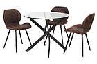 Прозорий стіл Т-309 від Vetro Mebel D90 см, скло+чорний метал, фото 6