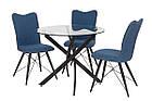 Прозорий стіл Т-309 від Vetro Mebel D90 см, скло+чорний метал, фото 7