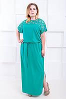Платье в пол большого размера Версаль мята (50-64) 50-52