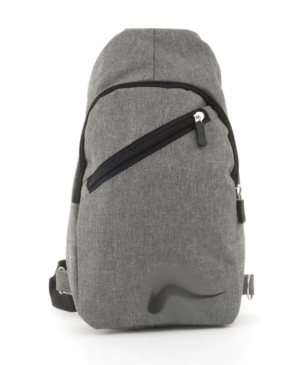Прочный вместительный удобный  рюкзак на одну лямку НайкМэн art, 211 (102774) серый
