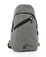 Прочный вместительный удобный  рюкзак на одну лямку НайкМэн art, 211 (102774) серый, фото 1
