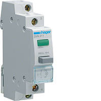 Выключатель кнопочный возвратный с зелёным индикатором Hager SVN411, 16А, 230В