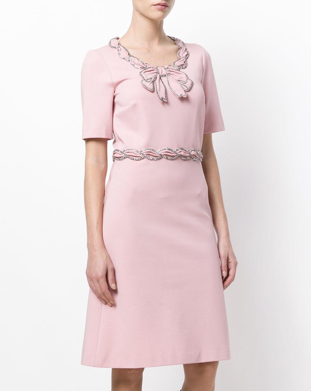 Платье в стиле Gucci с бантиком персиковое