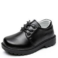 Туфли школьные для мальчика, черные, кожа, размер 32-35, ТШ 011
