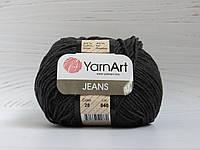 Пряжа для вязания YarnArt Jeans цвет 28 черный джинс, полухлопковая пряжа для вязания игрушек, детская пряжа