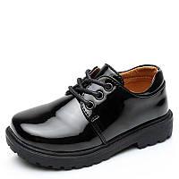 Туфли школьные для мальчика, черные, лаковые, размер 32-35, ТШ 013