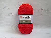 Пряжа для вязания YarnArt Dolce цвет 748 красная, плюшевая пряжа для вязания пледов и игрушек, детская пряжа