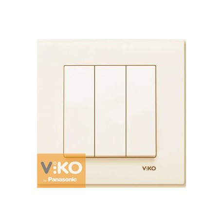 VIKO KARRE Выключатель 3-х клавишный Крем